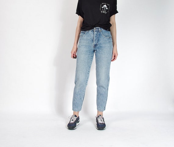 SALE - 80s POP84 Acid Wash Denim Mom Jeans / Size 29-30