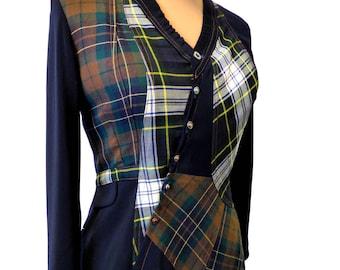 Chemisier veste redingotte féminine et ajustée élégante et rock écossai Rody T40/42
