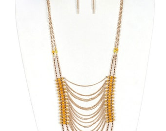 Yellow Multi Layer Chain Necklace Earring Set Lucite Bead Necklace Red Beaded Boho Necklace Tribal Necklace Earring Set FREE U.S. SHIPPING