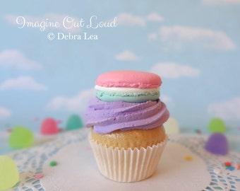 Fake Cupcake Handmade Cotton Candy Macaron Purple Decor Fake Food Kitchen Display