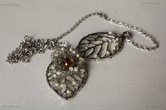 Skeleton Leaf Necklace with Crochet Wire Flower