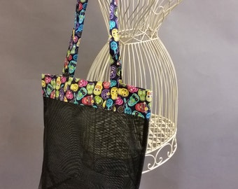 Mesh Tote. Colorful Sugar Skulls Bag with Long Shoulder Straps. Halloween. Project, Market or Beach Bag. From MDS Creative.