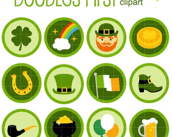 St. Patrick's Day Icons Collage Sheets for Scrapbooking Card Making Cupcake Toppers Paper Crafts Digital Collage Sheet