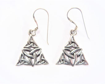 Vintage Triangle Dangle Sterling Celtic Earrings