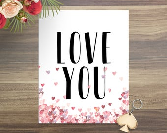 Love Me Valentine's Day Wall Art Valentine's Day Art Print Red Hearts Typography Art Print Typography Wall Art Digital Download