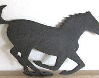 Vintage Pair Iron Horses 5.5 x 3.5  Drawer Handles Shadow Boxes Furniture Southwestern Black Metal Horses Running Band for Attachment