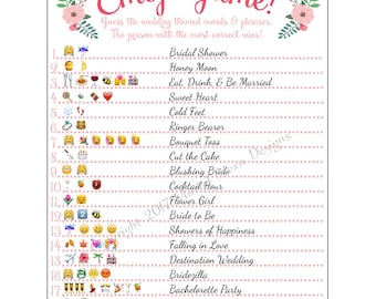 Bridal Shower Emoji Game  - Fun Unique Games DIY PDF Wedding Personalized Watercolor Pink Floral Garden Flower Theme Emoticon Pictionary