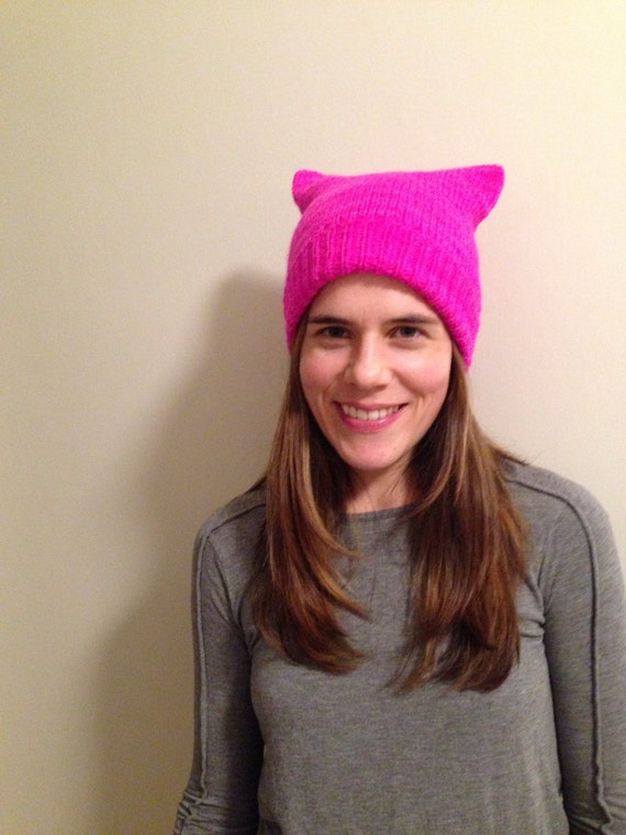 READY TO SHIP Bright pink pussy hat 100% Merino wool soft and warm quality made