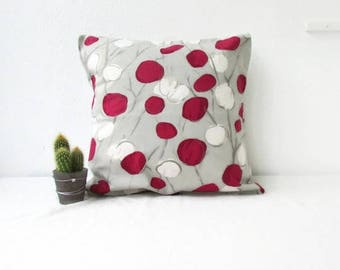 Spotty pillow cover, cushion cover in Romo Sapota fabric in cerise raspberry pink cream stone grey, modern pillow cover, handmade in the UK