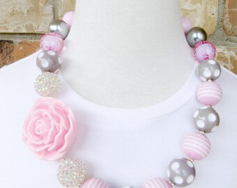 Gray / Pink Rose Flowers Chunky Bubble Gum Necklace - Photo Prop Fashion Accessory