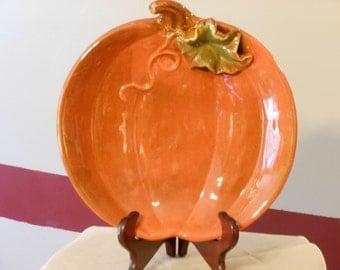 Ceramic Pumpkin Serving Tray