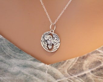 Sterling Silver Realistic Owl Pendant Necklace, Realistic Owl Necklace, Owl Necklace, Sterling Silver Owl Charm Necklace