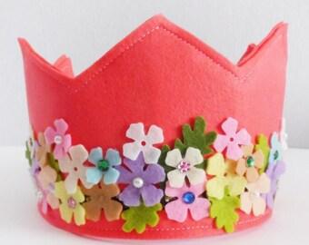 Felt Crown, Birthday Crown, Adjustable Size, Kids Birthday Gift, Party Crown, Girls Birthday Crown, Felt Party Hat, hat, flower crown