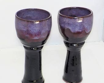 Lavender and Onyx Goblet Pair