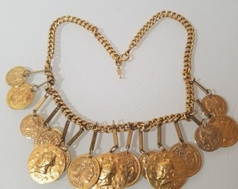 FREE  SHIPPING   Trifari  Gold Coin  Necklace