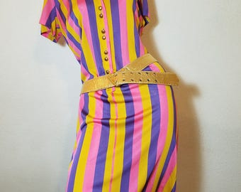 FREE  SHIPPING  1960 Psychedelic  Mod  Dress