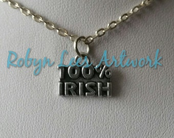 Small Silver 100% Irish Word Charm Necklace on Silver Crossed Chain or Black Faux Suede Cord. Ireland, Different, Dainty, Costume