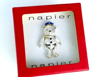 Vintage Napier Police Bear Brooch Collectible 80s Articulated Teddy Bear in Sheriff Uniform