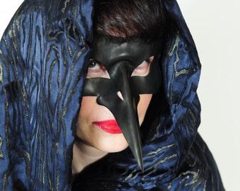 Handmade black leather bird nose mask