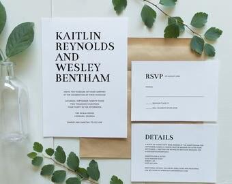 Printable Wedding Invitation Set | Minimalist Wedding Invitations | Simple Clean Wedding Invites | Wedding Invitation Suite | WI-048