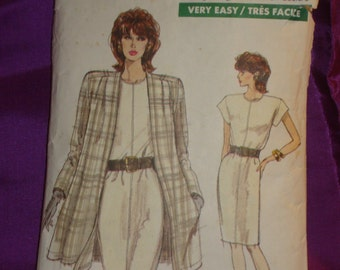 1980s 80s Vintage Short Sleeve Slim Dress and Above Knee Length Flared Jacket COMPLETE Vogue Pattern 7127 Bust 38 Inches 97 Metric EASY