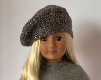 """Sparkly DOLL BERET hat.  For 18"""" doll crocheted beret. Fits American Girl Doll. Crocheted doll hat. 18"""" doll clothes.  18"""" doll hats."""