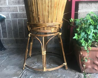 Hand Crafted Bamboo Planter with Matching Pedistal Stand