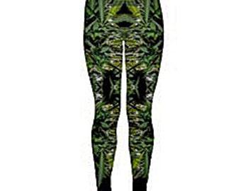 Yoga Leggings:Cannabis Leggings in Blueberry Marijuana Print, Weed Leggings,Ganja Leggings, Marijuana Leggings-Made to Order