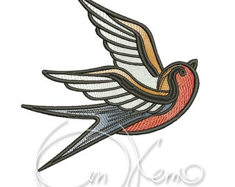 MACHINE EMBROIDERY DESIGN - Old school tattoo embroidery, swallow embroidery, old school swallow