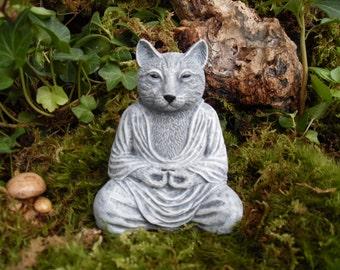 Meditating Cat Statue, Yoga Cat Statue, Buddha Cat Statue, Zen Cat Statue,Outdoor Zen Garden Decor,Concrete