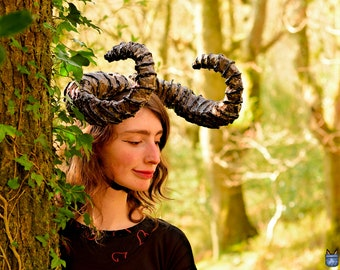 """Large Demon Horns! Forward Pointing Curled Brown Monster 20"""" Horn Headband! Large Spiral Satyr Curly Antlers Costume Cosplay Devil Illidan"""