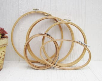 Vintage Wood Hoops, Oval & Round Embroidery Hoops,  Vintage Sewing Craft Room Decor, Wall Hanging, Wall Art, Lot of 9