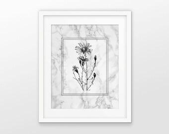 Daisy Art Print - Dairy Plant Decor - Marble Effect - Ox Eye Daisy Decor - Daisy Wall Art - Black And White - Daisy Flower - Flower Art #21
