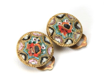 Vintage Gold Tone Metal Glass Micro Mosaic Clip On Earrings Made in Italy