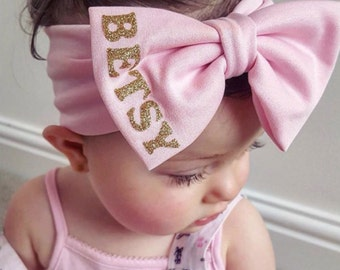 Personalised Glitter Baby Headband Turban Bow Hair Hairband Custom Girls