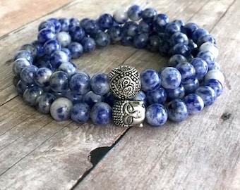 Om Bracelet or Necklace / 108 Bead Mala / Blue Sodalite Buddha Jewelry / Women's or Men's Multi Wrap Bracelet