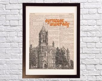 Syracuse University Dictionary Art Print - Crouse College - Print on Dictionary Paper - Syracuse Orange, New York, Graduation Gift