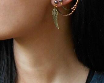 Double piercing earrings, Ear Cuff Earrings for double piercing,