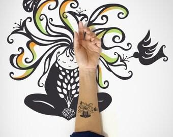 Little Nature Girl Temporary Tattoo / Nature Girl Temporary Art Tattoo / Decorative Temporary Tattoo / Nature Temporary Tattoo /Body Sticker