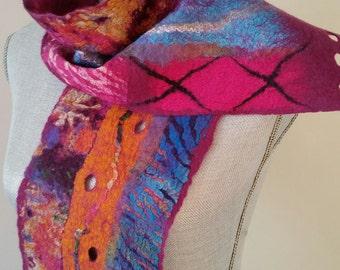 Nuno Felt Scarf _ Wool & Silk Shawl _ Luxurious Neck Wrap