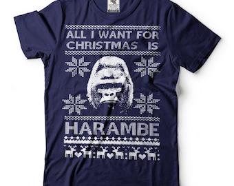 Ugly Christmas Sweater Harambe T-Shirt Funny Christmas Party Tee Shirt