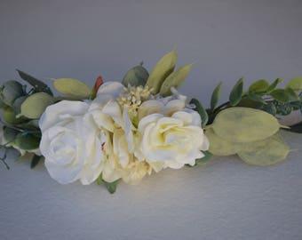 Bridal Half Flower Crown -Eucalyptus Half Flower Crown - Ivory Half Floral Hair Wreath - Photo Prop - White Rose and Eucalyptus Hair Piece