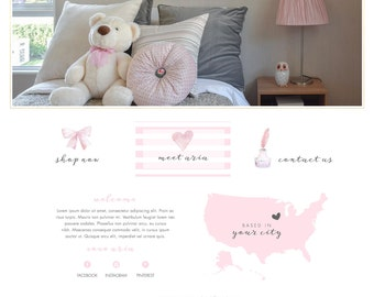 Wix Website design, boutique website design, ecommerce, cart, shopping cart, pink, crafts, hand made template, online shop, E4859