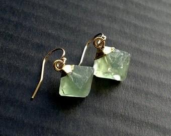 CLEARANCE Fluorite Earrings Raw Fluorite Crystal Earrings Fluorite Jewelry Gold Filled Cube Earrings Green Stone Earrings Gemstone Earrings