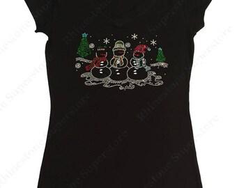 "Women's Rhinestone T-Shirt "" Snowman with Christmas Tree "" in S, M, L, 1X, 2X, 3X"