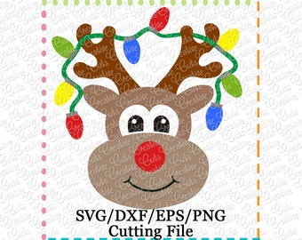 EXCLUSIVE SVG Reindeer Lights Cutting File, Reindeer cut file, reindeer cutting file, reindeer svg, rudoloh svg, LIMITED commercial use