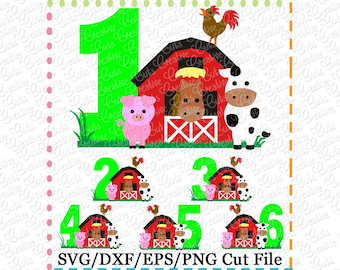 Barn with Animals Birthday Numbers Set svg cutting file, farm animals svg, horse svg, cow svg, pig svg, barn svg, farm svg, farm animals