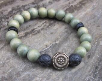 wood bead bracelet lava stone mens bracelet stretch stacking bracelet women's bracelet oil diffuser beaded bracelet yoga bohemian