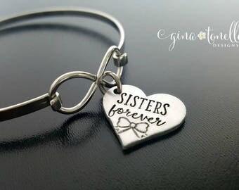 Sister Bracelet, Sisters Forever, Sisters Infinity Bangle, Sorority Sister Gift, Gift for Sister, Sister Jewelry, Big Sister, Little Sister