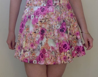 Photo-real digital pink floral print high waisted mini-skirt- S/M
